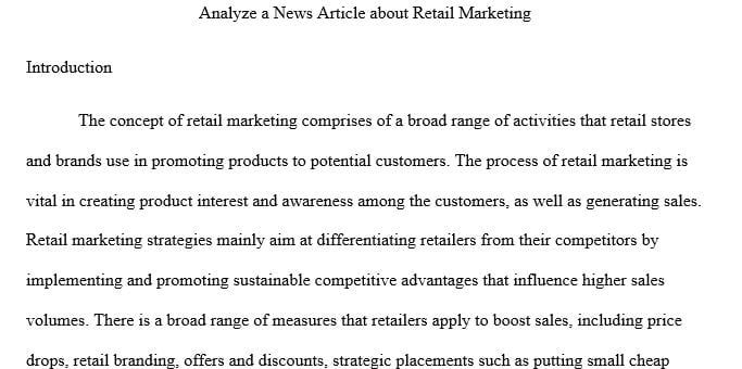 Analyze a news article about retail marketing(Retail Marketing)