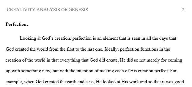 Reflect on each of these key aspects of God's creative process.