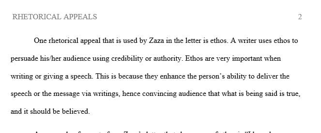Use a quote from Zaza text to show her use of the appeal.
