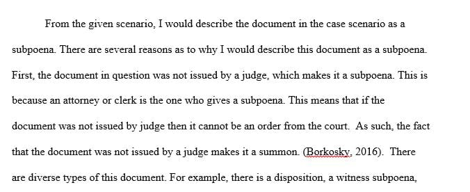 Would you describe the document as a subpoena or court order