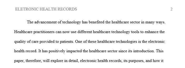 Write a 500-word brief that provides an overview of the technology its purpose and how it would function in a health care setting