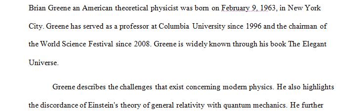 Analyze ''The Elegant Universe by Brian Greene'' book; 900 words minimum.