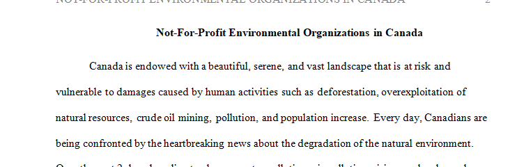 Conduct a demographic study to identify top 10 not-for-profit environmental organizations in Canada.