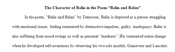 Write a paper on the character Balin in the poem Balin and Balan by Aflred Lord Tennyson