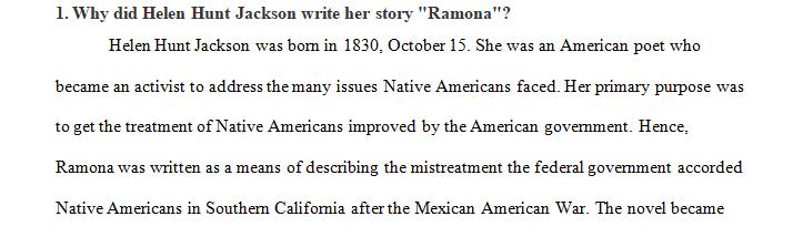 Why did Helen Hunt Jackson write her story Ramona