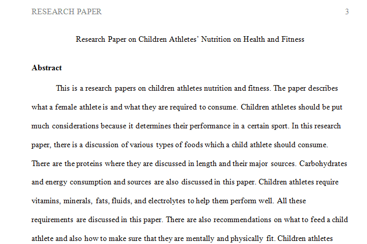 Research Paper on Children Athletes' Nutrition on Health and Fitness