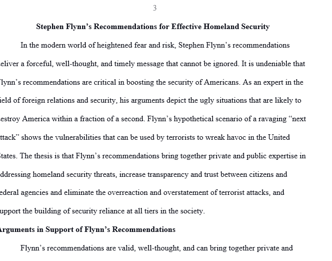 In a two-page paper discuss Stephen Flynn's recommendations for effective homeland security. Do you agree with the recommendations?