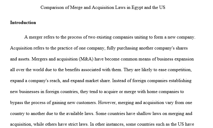 The nature of mergers and acquisitions and compares the laws and legal framework in Egypt to other countries, mainly the U.S.