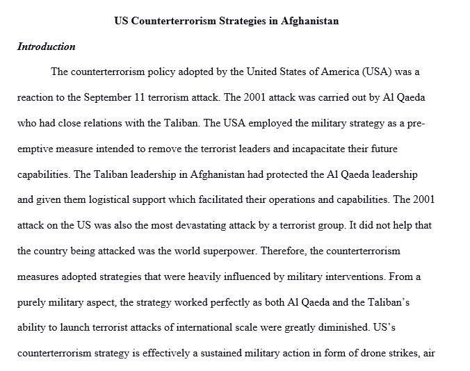 U.S. on terrorism of Afghanistan