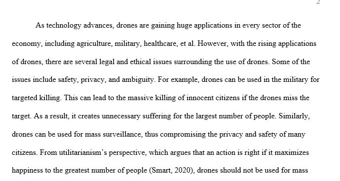 Write a one-paragraph essay arguing what should be done about Drones according to one of the six theories.
