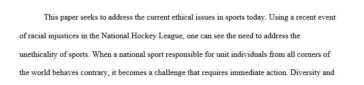 Analyze a current ethical issue in sport