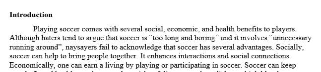 Soccer; the reason why we should play it and its importance for people