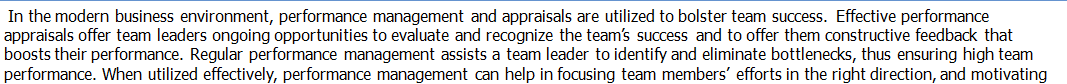 Performance Management and Appraisals for team Success.