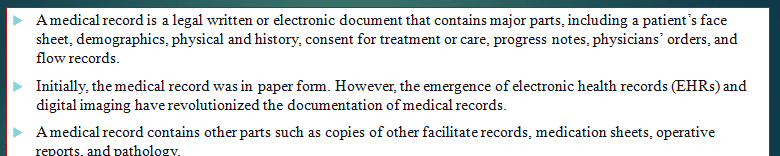 A general overview of the parts of a medical record