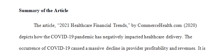 Identify a recent article (within the last year) on the subject of healthcare finance trends.